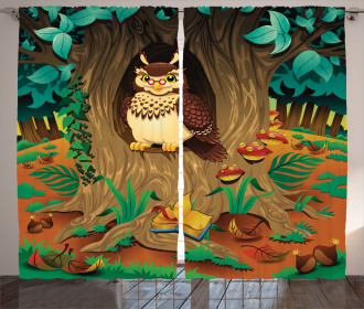 Nanny Grandma Sage Owl Curtain