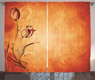 Vintage Style Rose Bloom Curtain