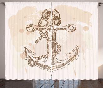 Navy Rope Summer Holiday Curtain