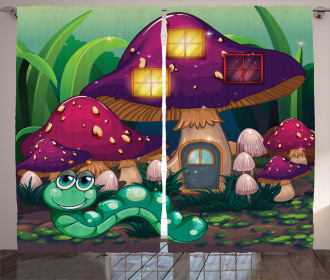 Worm Mushroom House Curtain