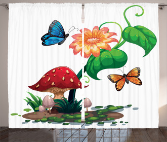 Flowering Plant Butterfly Curtain