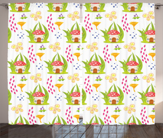 Spring Forest Toadstool Curtain