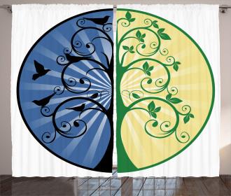 Ying Yang Tree Asian Curtain