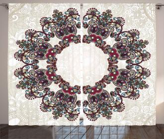 Aztec Mandala Symbol Curtain