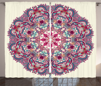 Boho Tribal Floral Curtain