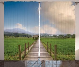 Green Farm Rural View Curtain