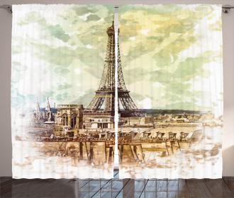Eiffel Tower Skyline Curtain