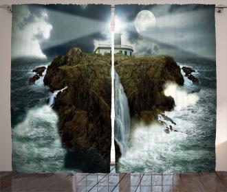 Rocks Stormy Sealife Curtain
