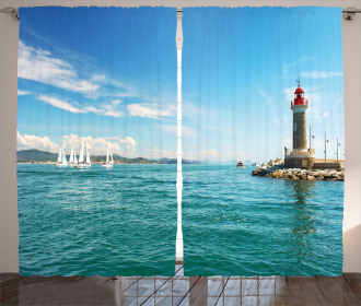 Sunny Day by the Sea Curtain