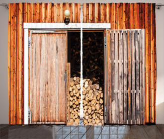 Barn with Firewood Rural Curtain