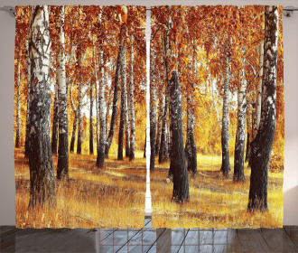 Autumn Leaves Design Curtain