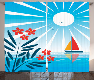 Oleanders and Sailboat Curtain
