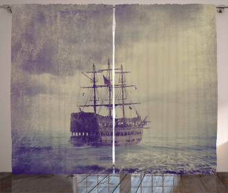 Old Pirate Ship in Sea Curtain