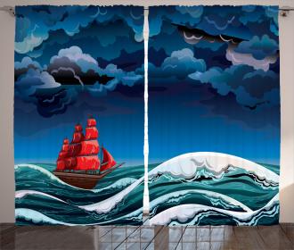 Cartoon Ship on Waves Curtain