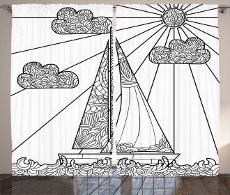 Doodle Boat on Waves Curtain
