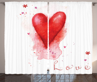 Watercolor Effect Heart Curtain