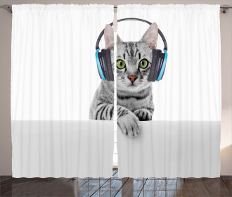 Animal Listening to Music Curtain