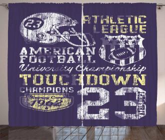 Retro American Football Curtain