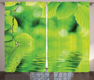 Leaves and River Peace Curtain