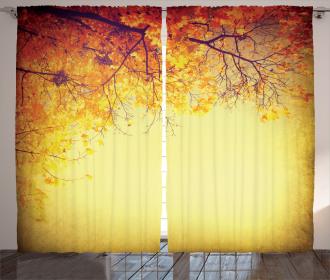 Retro Autumn View Curtain