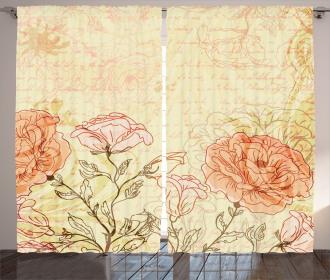 Grunge Retro Flowers Curtain