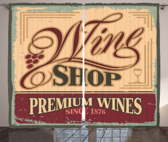 Old Wine Shop Sign Curtain
