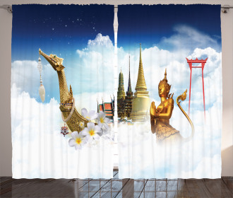 Thailand Famous Statues Curtain