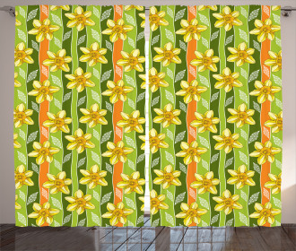 Narcissus Flower Ornate Curtain