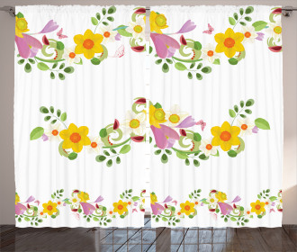 Retro Flowers Pattern Curtain