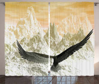 Eagle Flying Mountains Curtain