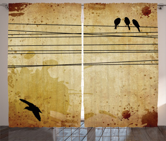 Birds on Cable Grunge Curtain