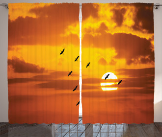 Birds Flying at Sunset Curtain