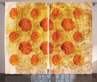 Grunge Rose Floral Art Curtain