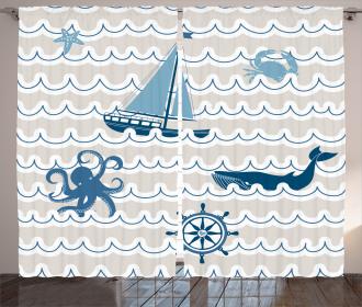 Cartoon Ship Whale Waves Curtain