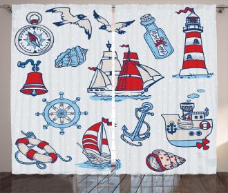 Cartoon Nautical Figures Curtain