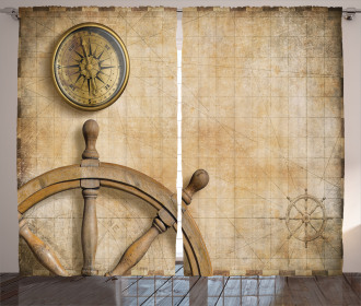 Wooden Wheel Compass Curtain