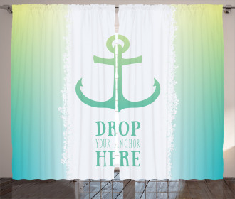 Quote Green Ombre Anchor Curtain