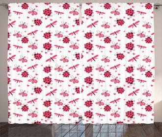 Dragonfly Ladybugs Hearts Curtain