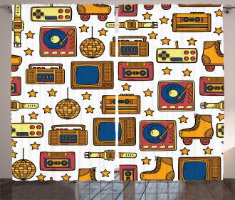 90s Theme Icons Retro Curtain