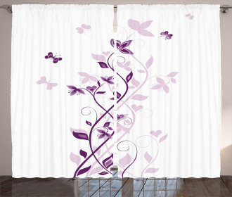 Violet Tree Blossoms Curtain
