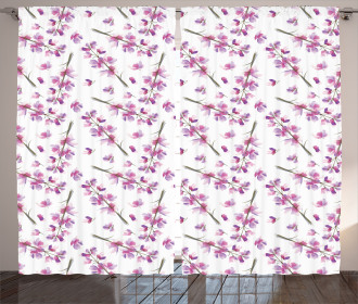 Blooming Flowers Nature Curtain