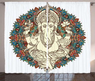 Asian Elephant Blossoms Curtain