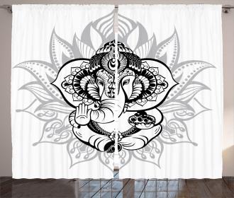 Elephant Spiritual Figure Curtain
