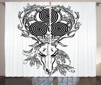 Deer Skull Feather Boho Curtain