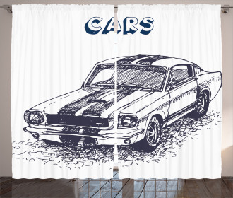 Sports Car Grunge Curtain