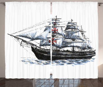 Columbus Ship Sailing Curtain
