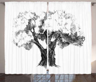 Olive Tree Retro Nature Curtain