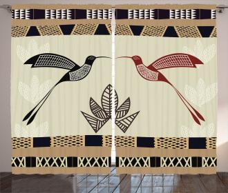 Bamboo Leaf Birds Art Curtain