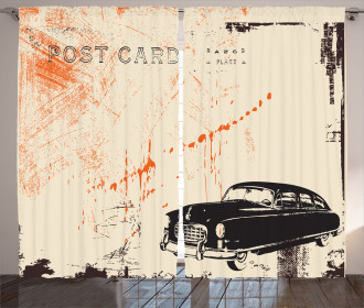 Old Fashioned Car Art Curtain