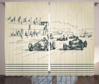 Racing Cars Sketchy Curtain